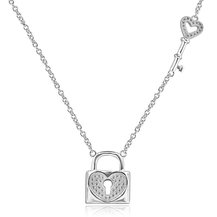 Sterling Silver Rhodium Plated Heart Lock and Key Necklace