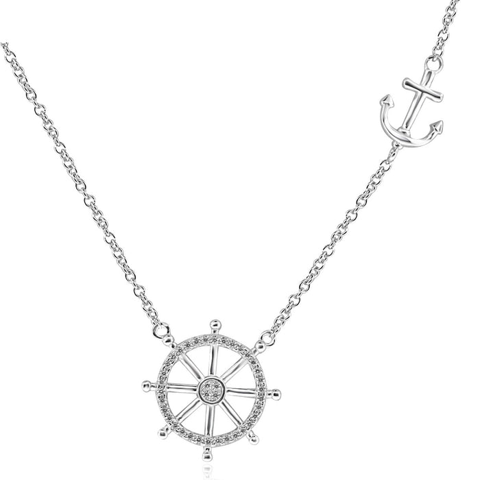 Sterling Silver Rhodium Plated with Ship Wheel and Anchor Necklace