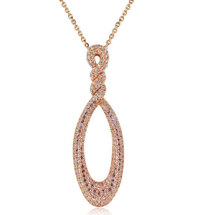 Sterling Silver Rhodium Plated and CZ Teardrop Necklace