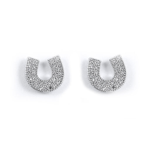 Sterling Silver Rhodium Plated and CZ Horseshoe Stud Earrings