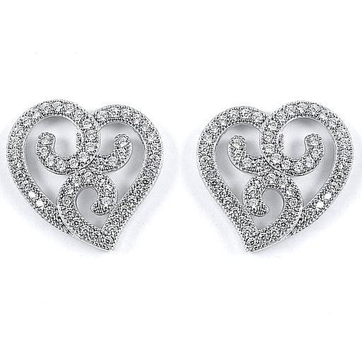 Sterling Silver Rhodium Plated and CZ Heart Stud Earrings