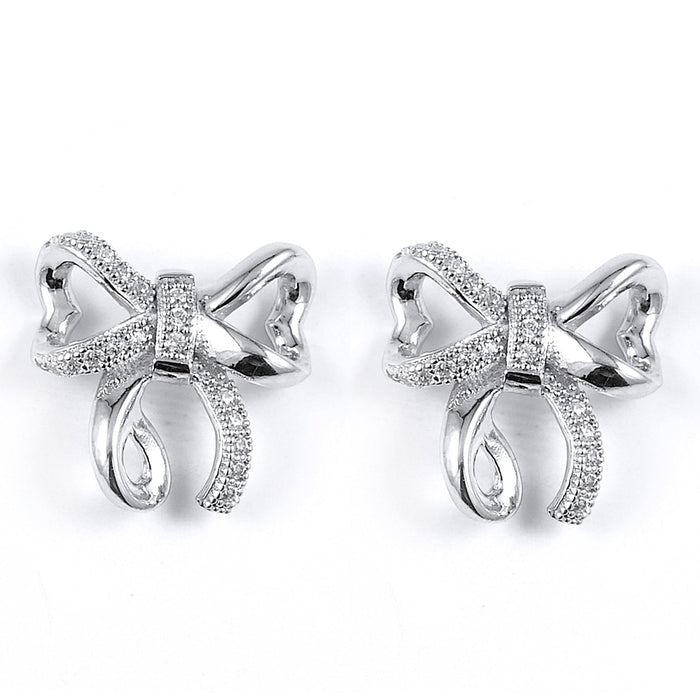 Sterling Silver Rhodium Plated and CZ Ribbon Stud Earrings