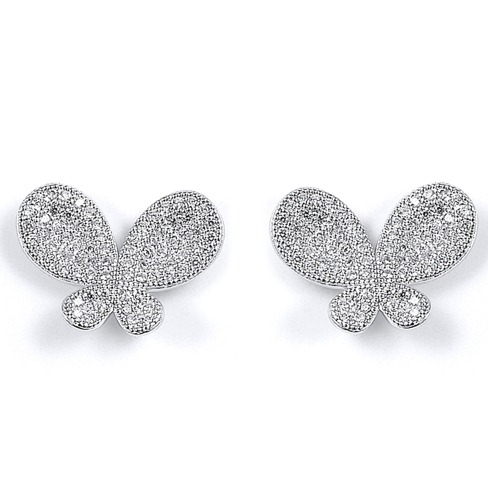 Sterling Silver Rhodium Plated and CZ Stud Earrings