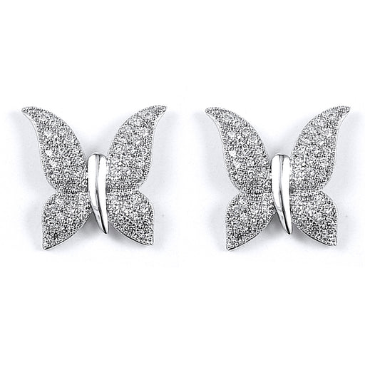 Sterling Silver Rhodium Plated and CZ Butterfly Stud Earrings