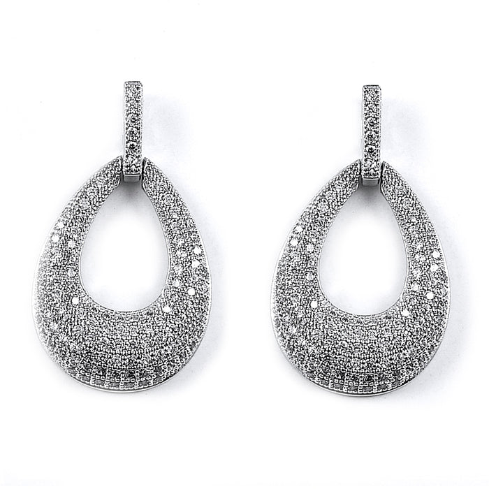 Sterling Silver Rhodium Plated and CZ Pear Shape Dangle Earrings