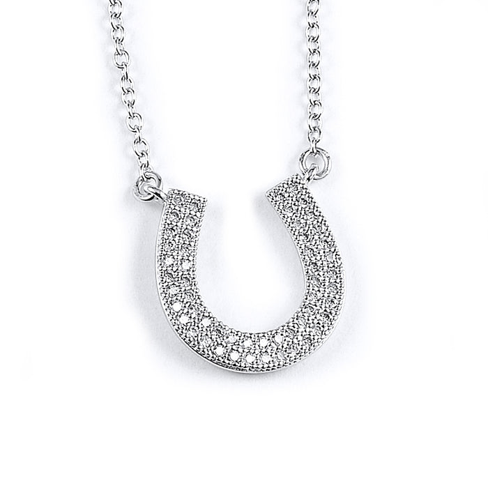 Sterling Silver Rhodium Plated and micro-pave CZ Horseshoe Necklace