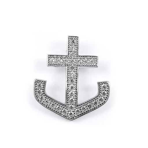 Sterling Silver Rhodium Plated and micro-pave CZ Anchor Pendant