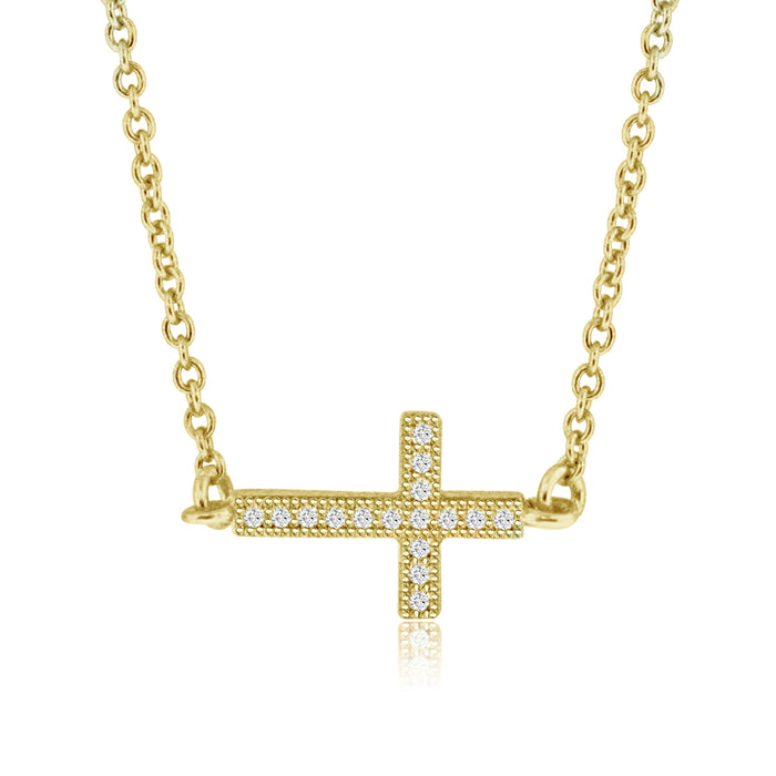 Sterling Silver Rhodium Plated and CZ Sideway Cross Necklace
