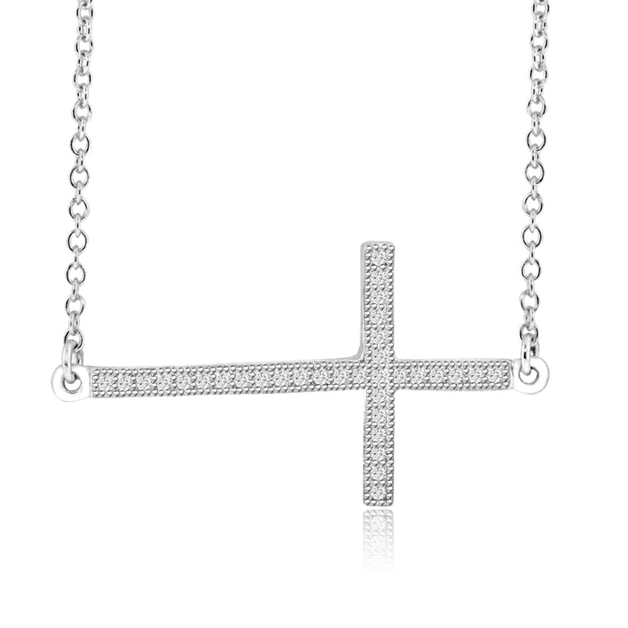 Sterling Silver Rhodium Plated and CZ Cross Necklace