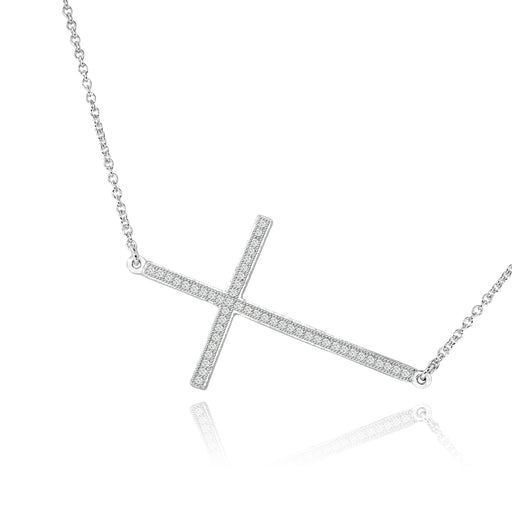 Sterling Silver Rhodium Plated and sideway CZ Cross Necklace