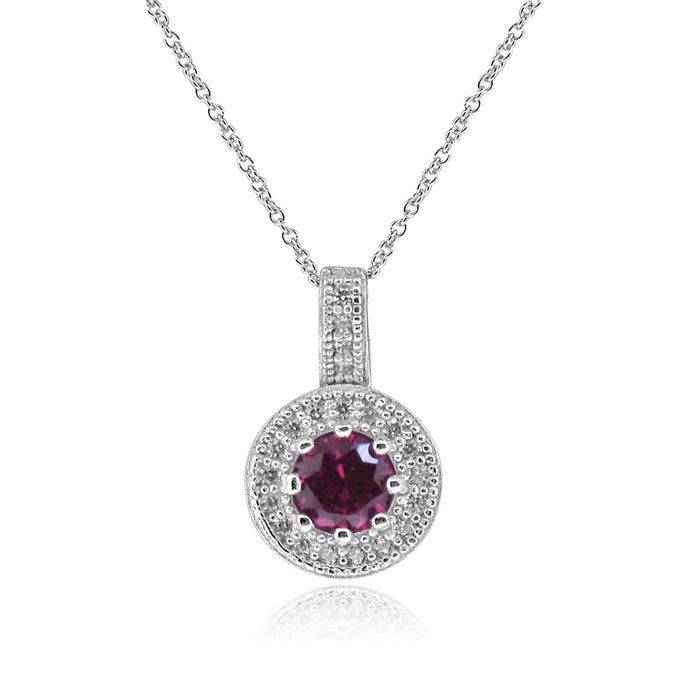 Sterling Silver Rhodium Plated with Simulated Ruby and CZ Halo Necklace