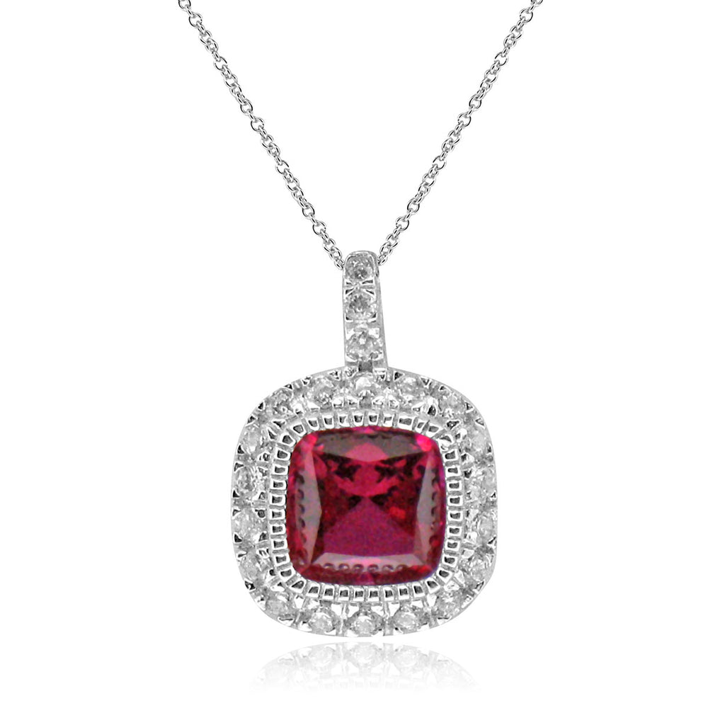 Sterling Silver Rhodium Plated with Cushion Simulated Ruby and CZ Halo Necklace