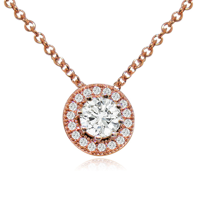Sterling Silver Rose Gold Plated and CZ Halo Necklace