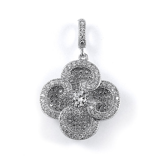 Sterling Silver Rhodium Plated and CZ Four Leaf Clover Pendant