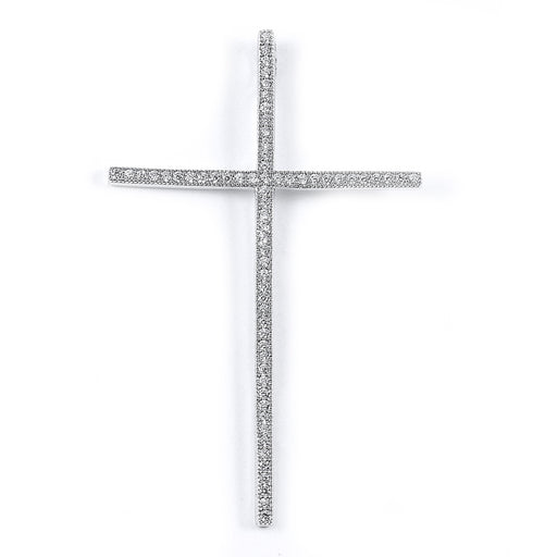 Sterling Silver Rhodium Plated and CZ Cross Pendant