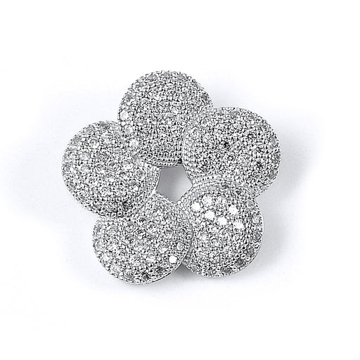 Sterling Silver Rhodium Plated and CZ Flower Pendant