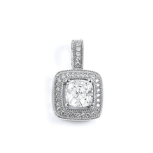 Sterling Silver Rhodium Plated and CZ Pendant