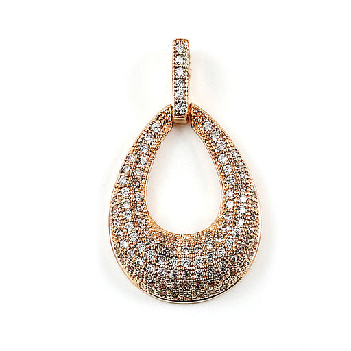 Sterling Silver Rose Gold Plated and CZ Teardrop Pendant