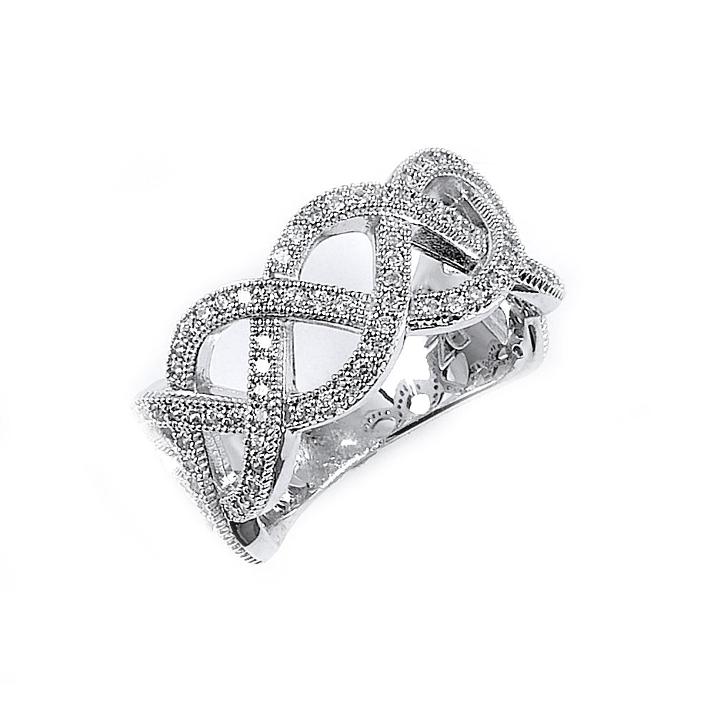 Sterling Silver Rhodium Plated and CZ Woven Ring