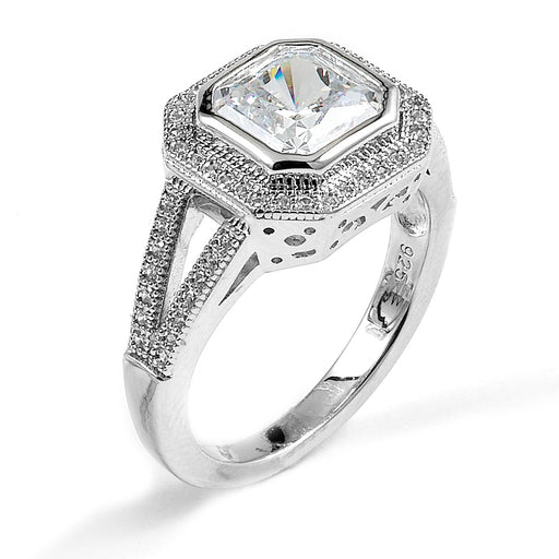 Sterling Silver Rhodium Plated and cushion cut CZ center stone Engagement Ring