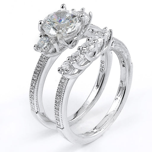 Sterling Silver Rhodium Plated and round CZ Three-Stone Wedding Set