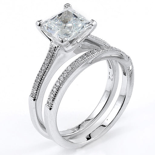 Sterling Silver Rhodium Plated and princess cut CZ Wedding Set