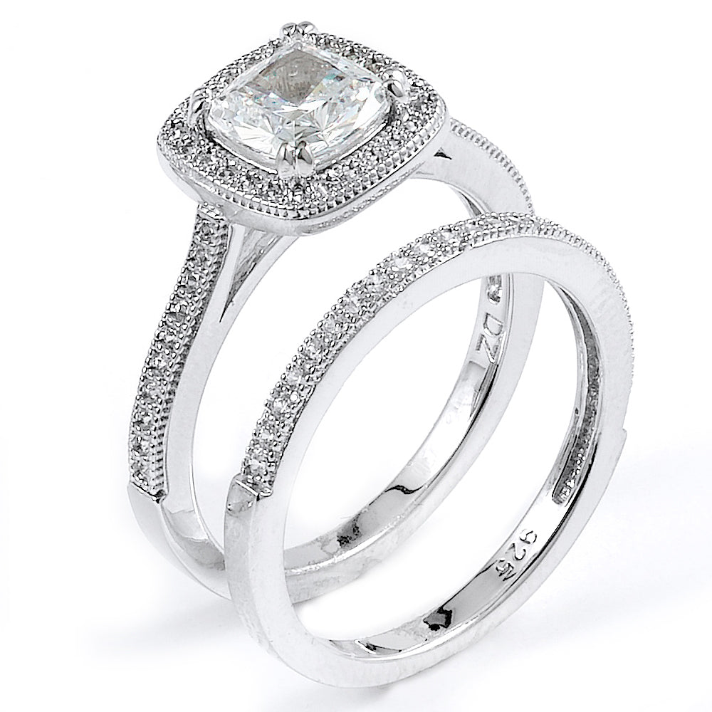 Sterling Silver Rhodium Plated and cushion cut CZ Halo Wedding Set