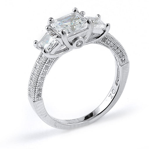 Sterling Silver Rhodium Plated and asscher cut CZ Engagement Ring