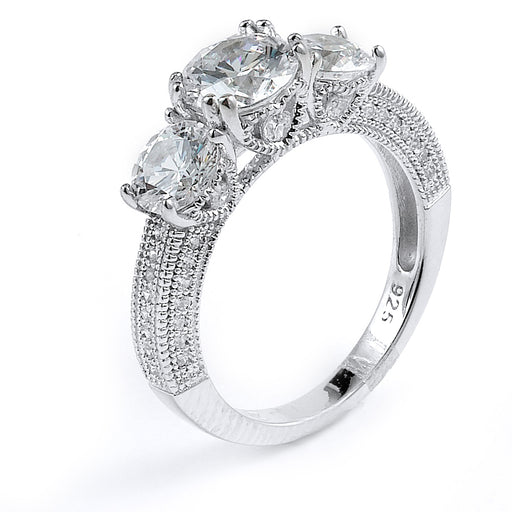 Sterling Silver Rhodium Plated and round CZ Three-Stone Engagement Ring