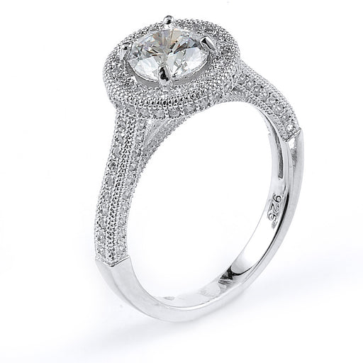 Sterling Silver Rhodium Plated and round CZ Halo Engagement Ring