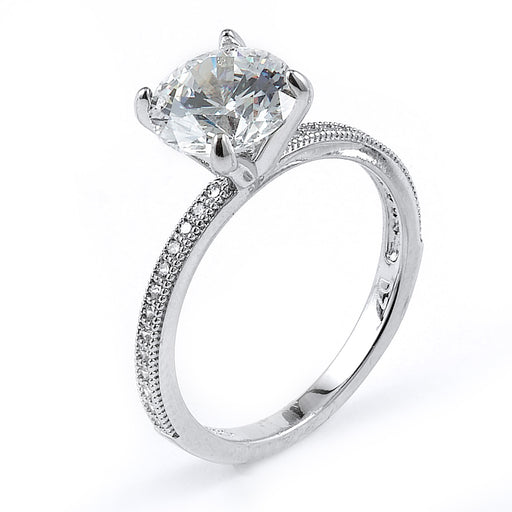 Sterling Silver Rhodium Plated and round CZ Engagement Ring