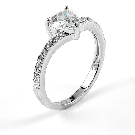 Sterling Silver Rhodium Plated and heart CZ Engagement Ring