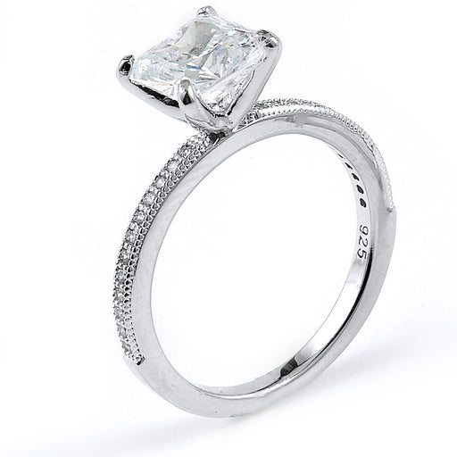 Sterling Silver Rhodium Plated and princess cut CZ Engagement Ring