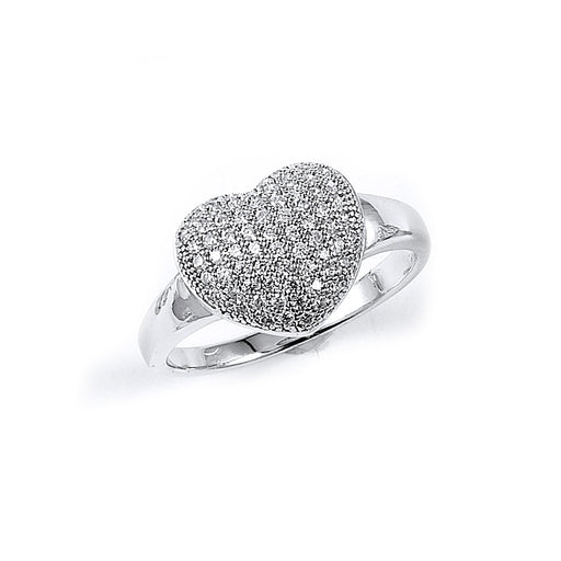 Sterling Silver Rhodium Plated and CZ Heart Ring