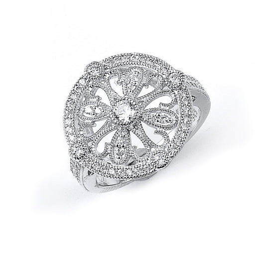 Sterling Silver Rhodium Plated and CZ Circular design Ring