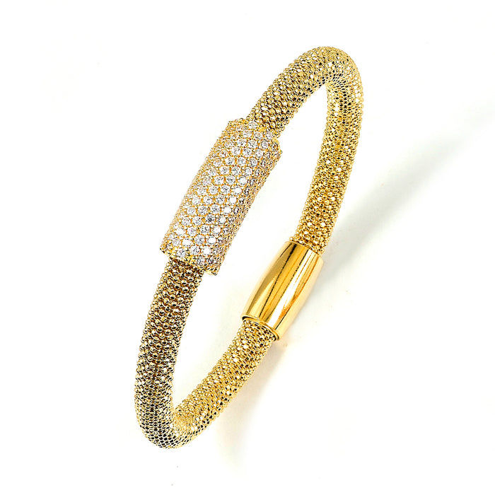 Sterling Silver Gold Plated and CZ Beaded style Bracelet