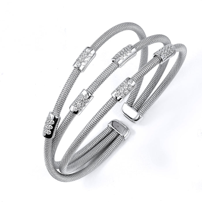 Sterling Silver Rhodium Plated and CZ stations three rows Bangle