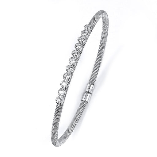 Sterling Silver Rhodium Plated and CZ Bangle