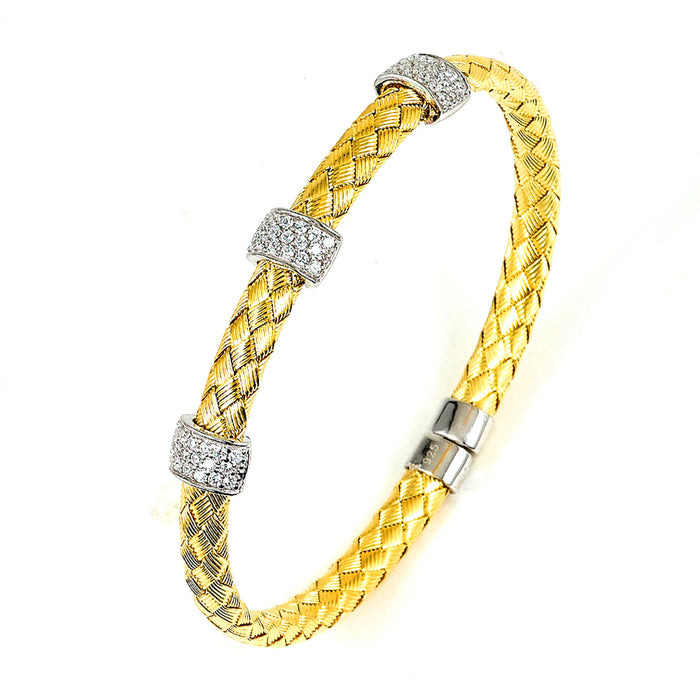 Sterling Silver Rhodium Plated and CZ braided cable Bangle