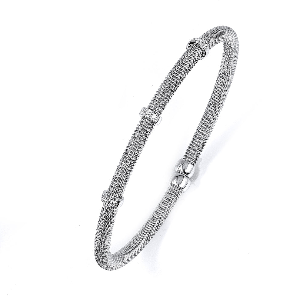 Sterling Silver Rhodium Plated and 3 stations of CZ woven coil Bangle
