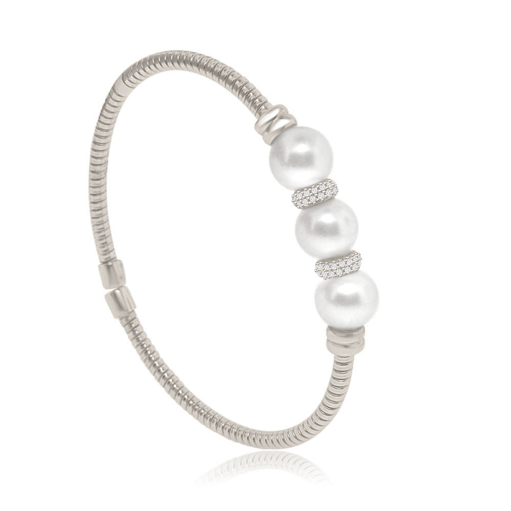 Sterling Silver Rhodium Plated with Simulated Pearl and CZ Bangle