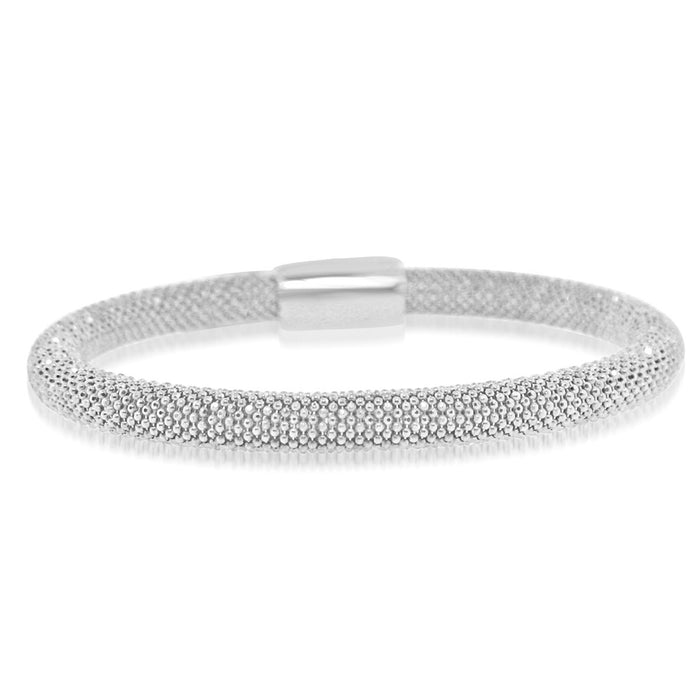 Sterling Silver Rhodium Plated Italian Beaded Bangle