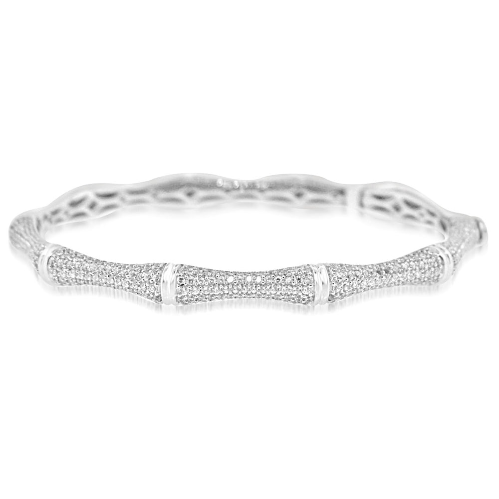 Sterling Silver Rhodium Plated and CZ Bamboe Bangle
