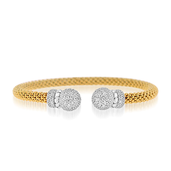 Sterling Silver Rhodium Plated and CZ Mesh Bangle