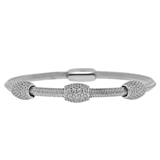 Sterling Silver Rhodium Plated and 3 CZ Barrel Bangle