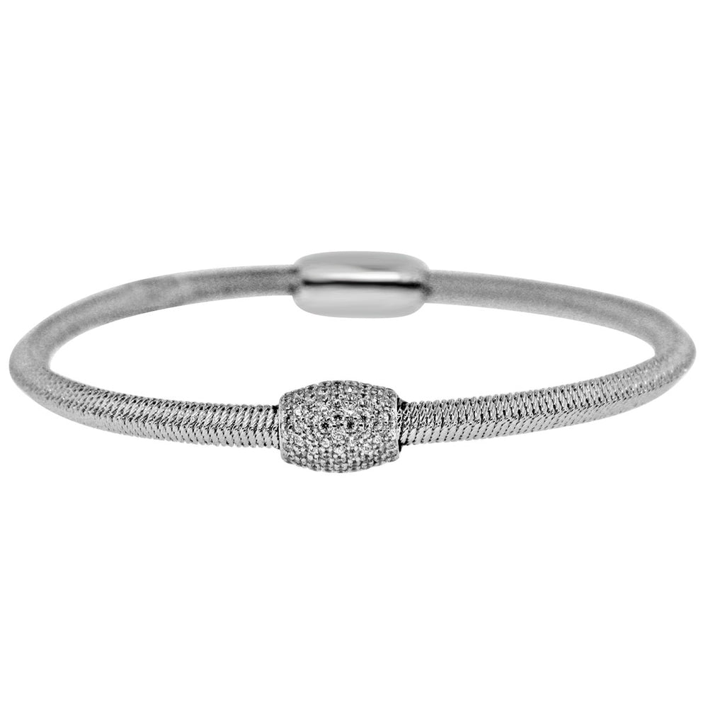 Sterling Silver Rhodium Plated and CZ station Italian Wire Bangle