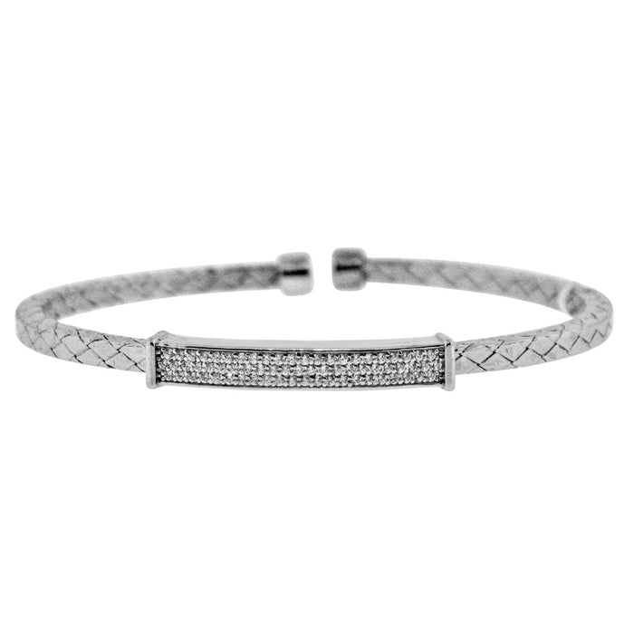 Sterling Silver Rhodium Plated and CZ Bar Bangle