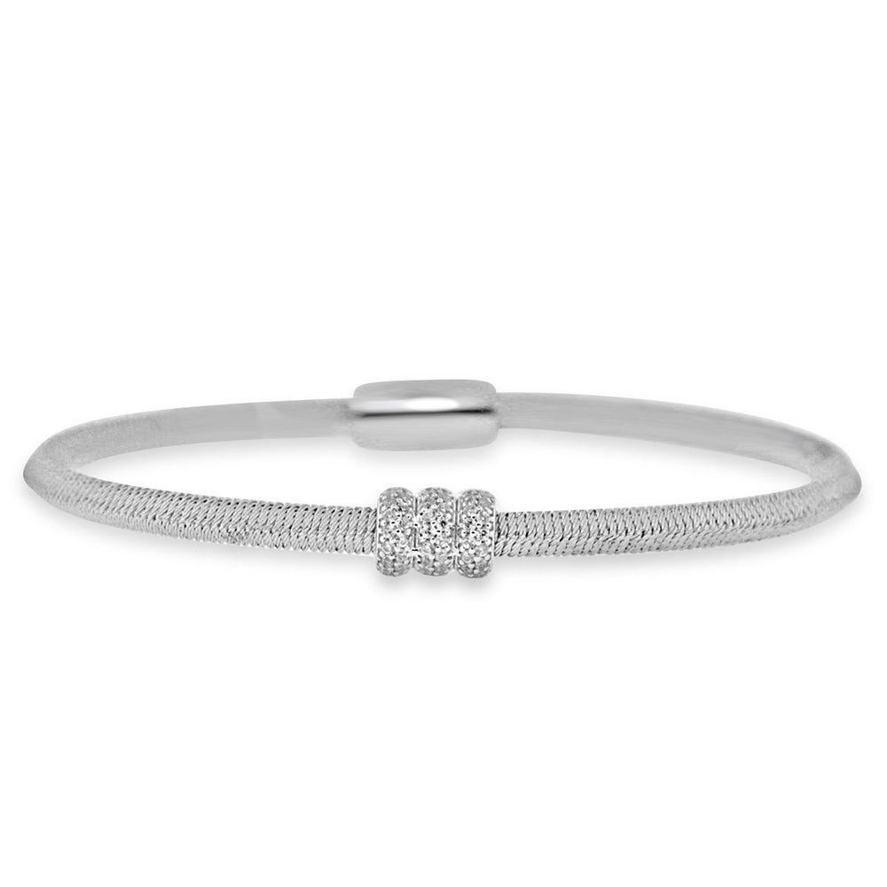 Sterling Silver Rhodium Plated and 3 CZ Roundel Disk Bangle