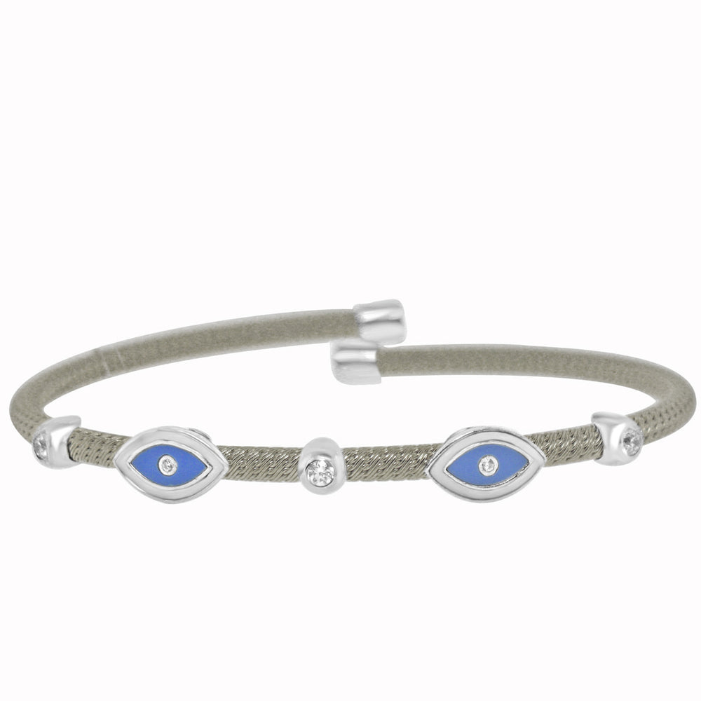 Sterling Silver Rhodium Plated with Blue Enameled Evil Eye and CZ Bezel Bangle