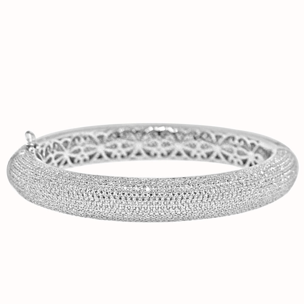 Sterling Silver Rhodium Plated with Micro-Pave CZ Bangle